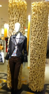LEATHER JACKET - WHEAT STACKS DISPLAY AT NEIMAN MARCUS MANN WITH LEATHER BIKER JACKET AND WHEAT STACKS